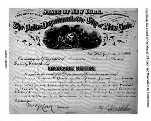 1901 Eugene Casey Bicycle Squad Honorable Mention Certificate Runaway