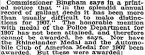 19080509 NYTimes - 1908 Parade ACA Medal NOT Awarded at Parade INSERT
