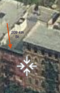 Zillow Website - 209 Fourth St Aerial PHOTO Loc of Tobias Gelis' Death