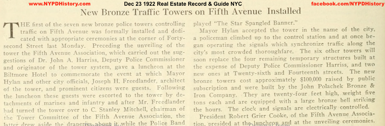 19221223 traffic Towers Replaced Fifth Ave - Real Estate Record & Builders Guide v 110 p 806 copy