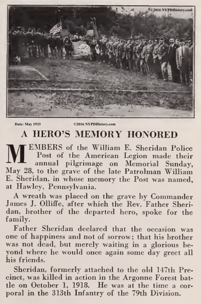 May 28, 1933 , Hawley, PA - Fifteen years after his death, the American Legion Post named in his honor, paid tribute at his burial site - Thanks to James M. of NYS for the article!