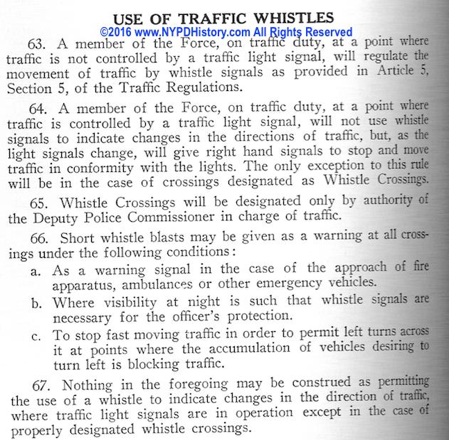 1940 Rules & Regs - Traffic Whistles