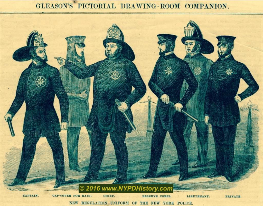 """52e19e19681e5 """"New Regulation Uniform of the New York Police"""" – 1854 Gleason s Pictorial"""