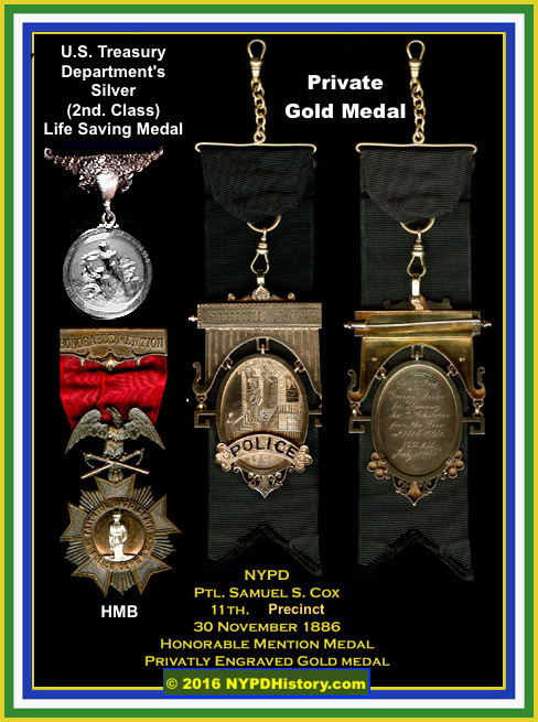 The top left is a Treasury Department's Silver (2nd Class) Life Saving Medal. below that is a HMB and to the right, an ornate gold private medal.